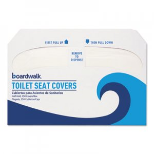 Boardwalk BWKK2500 Premium Half-Fold Toilet Seat Covers, 250 Covers/Sleeve, 10 Sleeves/Carton