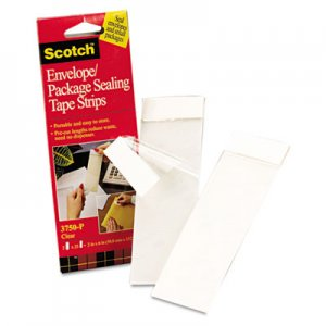 "Scotch MMM3750P2CR Envelope/Package Sealing Tape Strips, 2"" x 6"", Clear, 50/Pack 3750P-2CR"