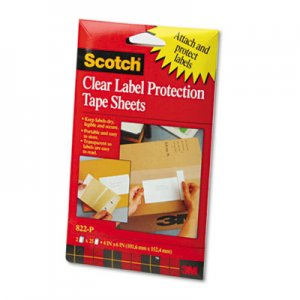 Scotch 822-P Pad Label Protection Tape Pads, 4 x 6, 2 25-Sheet Pads/Pack MMM822P 822P