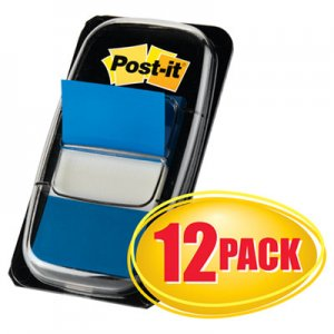 Post-it Flags MMM680BE12 Marking Page Flags in Dispensers, Blue, 12 50-Flag Dispensers/Pack 680-BE12