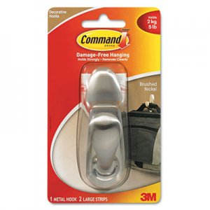 Command FC13BNES Adhesive Mount Metal Hook, Large, Brushed Nickel Finish, 1 Hook & 2 Strips/Pack MMMFC13BNES