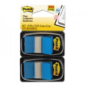 Post-it Flags MMM680BE2 Standard Page Flags in Dispenser, Blue, 100 Flags/Dispenser 680-BE2