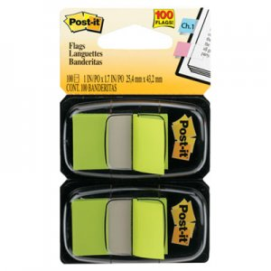 Post-it Flags MMM680BG2 Standard Page Flags in Dispenser, Bright Green, 100 Flags/Dispenser 680-BG2