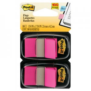 Post-it Flags MMM680BP2 Standard Page Flags in Dispenser, Bright Pink, 100 Flags/Dispenser 680-BP2