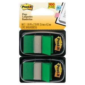Post-it Flags MMM680GN2 Standard Page Flags in Dispenser, Green, 100 Flags/Dispenser 680-GN2