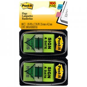 "Post-it Flags MMM680SD2 Arrow Message 1"" Page Flags, ""Sign and Date"", Green, 2 50-Flag Dispensers/Pack 680-SD2"