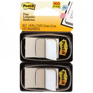 Post-it Flags MMM680WE2 Standard Page Flags in Dispenser, White, 100 Flags/Dispenser 680-WE2