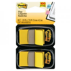 Post-it Flags MMM680YW2 Standard Page Flags in Dispenser, Yellow, 100 Flags/Dispenser 680-YW2
