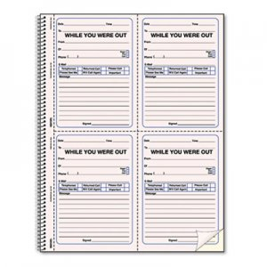 Rediform RED50726 Wirebound Message Book, 4 x 5 1/2, Two-Part, 200 Forms, 120 Alert Labels