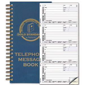Rediform RED50079 Wirebound Message Book, 5 x 2 3/4, Two-Part Carbonless, 600 Sets/Book 50-079
