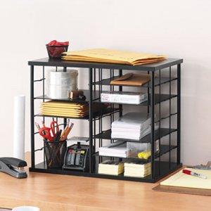 Rubbermaid RUB1738583 12-Slot Organizer, MDF, Desktop Sorter, 21 x 11 3/4 x 16, Black