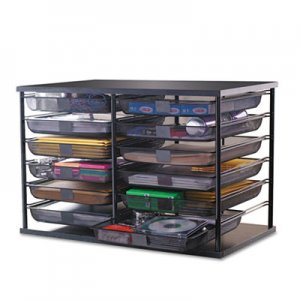 "Rubbermaid RUB1735746 12-Compartment Organizer with Mesh Drawers, 23 4/5"" x 15 9/10"" x 15 2/5"", Black"