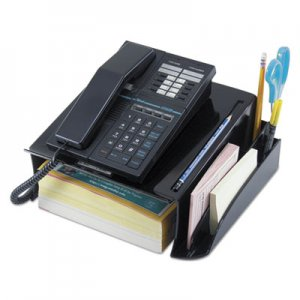 Genpak UNV08116 Telephone Stand and Message Center, 12 1/4 x 10 1/2 x 5 1/4, Black