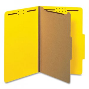 Universal 10214 Pressboard Classification Folders, Legal, Four-Section, Yellow, 10/Box UNV10214