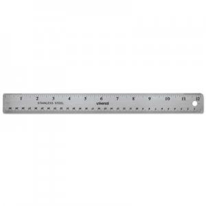 "Genpak UNV59023 Stainless Steel Ruler w/Cork Back and Hanging Hole, 12"", Silver"