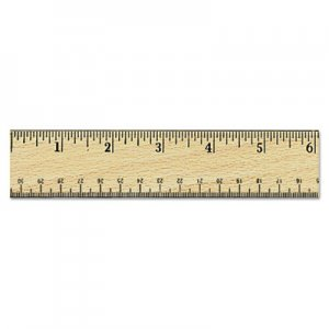 "Genpak UNV59021 Flat Wood Ruler w/Double Metal Edge, 12"", Clear Lacquer Finish"