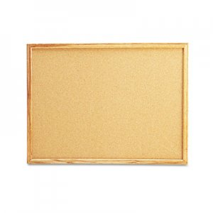 Genpak UNV43602 Cork Board with Oak Style Frame, 24 x 18, Natural, Oak-Finished Frame