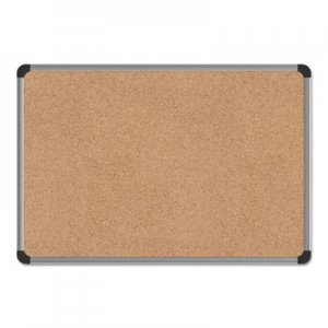 Genpak UNV43712 Cork Board with Aluminum Frame, 24 x 18, Natural, Silver Frame