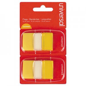 Genpak UNV99006 Page Flags, Yellow, 50 Flags/Dispenser, 2 Dispensers/Pack