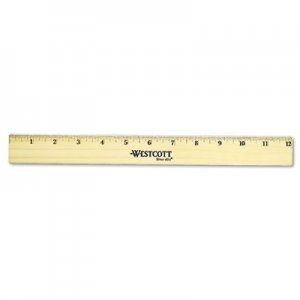 "Westcott 05221 Flat Wood Ruler w/Two Double Brass Edges, 12"", Clear Lacquer Finish ACM05221"