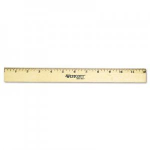 Westcott 05011 Wood Ruler with Single Metal Edge, 12 ACM05011