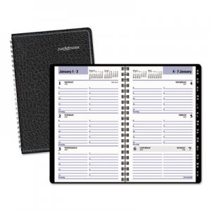 DayMinder AAGG21000 Block Format Weekly Appointment Book w/Contacts Section, 4 7/8 x 8, Black, 2016 G210-00