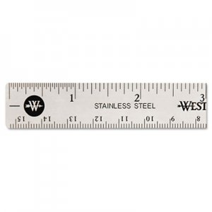 Westcott 10414 Stainless Steel Office Ruler With Non Slip Cork Base, 6 ACM10414