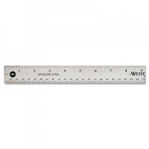 Westcott 10417 Stainless Steel Office Ruler With Non Slip Cork Base, 18 ACM10417