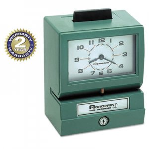 Acroprint ACP011070411 Model 125 Analog Manual Print Time Clock with Month/Date/0-12 Hours/Minutes 01-1070-411