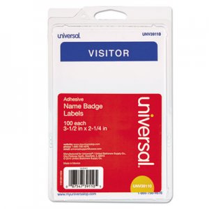 "Genpak UNV39110 ""Visitor"" Self-Adhesive Name Badges, 3 1/2 x 2 1/4, White/Blue, 100/Pack"