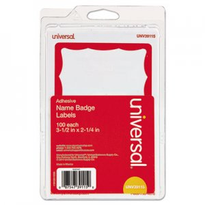 Genpak UNV39115 Border-Style Self-Adhesive Name Badges, 3 1/2 x 2 1/4, White/Red, 100/Pack