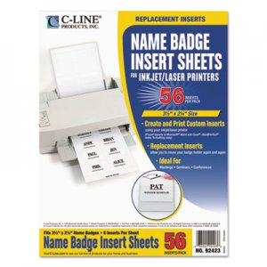 C-Line 92423 Name Badge Inserts, 3 1/2 x 2 1/4, White, 56/Pack CLI92423