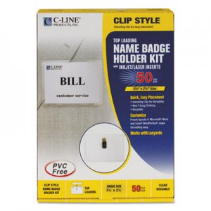 C-Line 95523 Name Badge Kits, Top Load, 3 1/2 x 2 1/4, Clear, 50/Box CLI95523