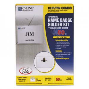 C-Line 95723 Name Badge Kits, Top Load, 3 1/2 x 2 1/4, Clear, Combo Clip/Pin, 50