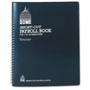 Dome 650 Payroll Record, Single Entry System, Blue Vinyl Cover, 8 3/4 x11 1/4 Pages DOM650