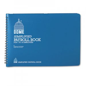 Dome 710 Simplified Payroll Record, Light Blue Vinyl Cover, 7 1/2 x 10 1/2 Pages DOM710