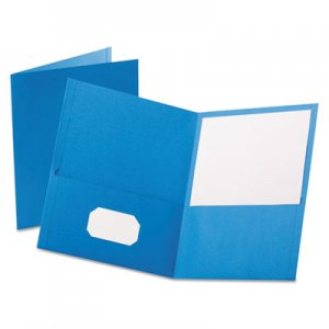 Oxford 57501 Twin-Pocket Folder, Embossed Leather Grain Paper, Light Blue OXF57501
