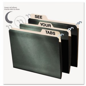find It FT07033 Hanging File Folders with Innovative Top Rail, Letter, Green, 20/Pack IDEFT07033