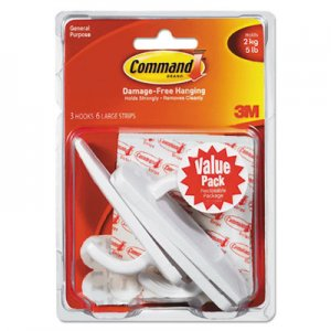 Command 170033ES General Purpose Hooks Value Pack, Large, 5lb Cap, White, 3 Hooks & 6 Strips/Pack MMM170033ES