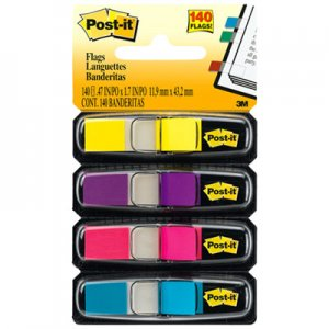 Post-it Flags MMM6834AB Small Page Flags in Dispensers, Four Colors, 35/Color, 4 Dispensers/Pack 683-4AB