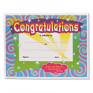 TREND TEPT2954 Congratulations Certificates, 8-1/2 x 11, White Border, 30/Pack