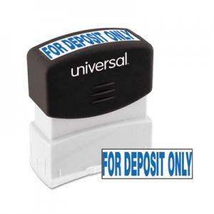 Genpak UNV10056 Message Stamp, for DEPOSIT ONLY, Pre-Inked One-Color, Blue