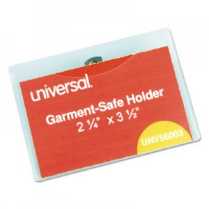 Genpak UNV56003 Clear Badge Holders w/Garment-Safe Clips, 2 1/4 x 3 1/2, White Inserts, 50/Box