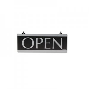 Headline Sign 4246 Century Series Reversible Open/Closed Sign, w/Suction Mount, 13 x 5, Black USS4246