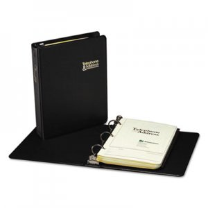 "Wilson Jones 812B Looseleaf Phone/Address Book, 1"" Capacity, 5 1/2 x 8 1/2, Black Vinyl, 80 Sheets"