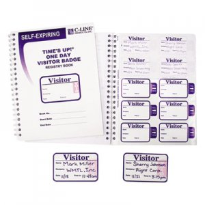 C-Line 97009 Time's Up Self-Expiring Visitor Badges w/Registry Log, 3 x 2, WE, 150 Badges/Box