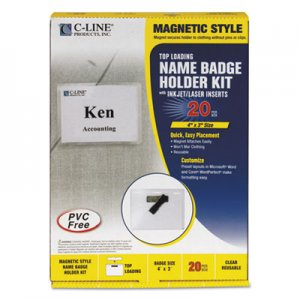 C-Line 92943 Magnetic Name Badge Holder Kit, Horizontal, 4w x 3h, Clear, 20/Box CLI92943