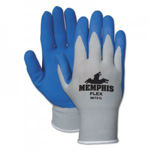 Memphis 96731L Memphis Flex Seamless Nylon Knit Gloves, Large, Blue/Gray, Pair CRW96731L