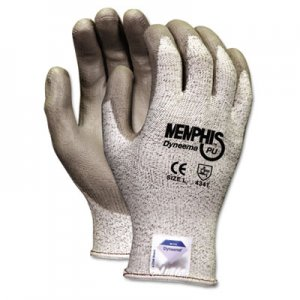 MCR Safety CRW9672M Dyneema Polyurethane Gloves, Medium, White/Gray, Pair