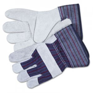 Memphis 12010M Split Leather Palm Gloves, Gray, Pair CRW12010M